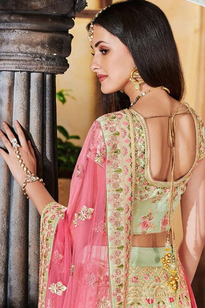 Pista Green Zari Embroidered Indian Lehenga
