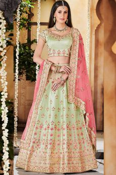 Pista Green Zari Embroidered Indian Lehenga