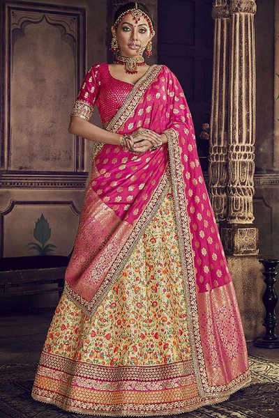 Beige Velvet Wedding Lehenga Choli with Heavy Embroidery