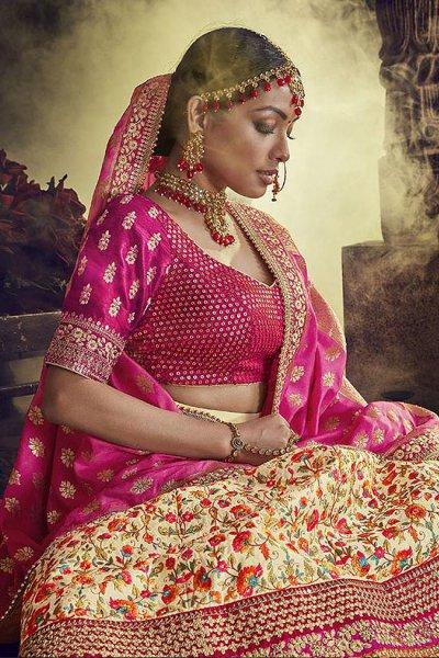 Beige Velvet Wedding Lehenga Choli with Heavy Embroidery