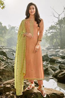 Peach Embroidered Cotton Chanderi Indian Suit