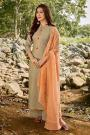 Taupe Embroidered Cotton Chanderi Indian Suit