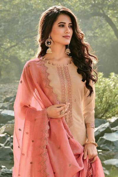 Ready to Wear Beige Embroidered Cotton Chanderi Indian Suit