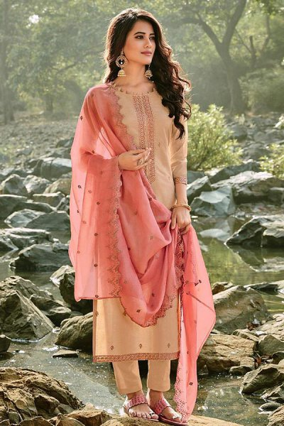 Beige Embroidered Cotton Chanderi Indian Suit