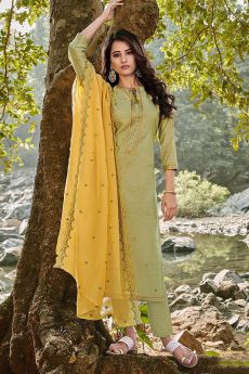 Green Embroidered Cotton Chanderi Indian Suit