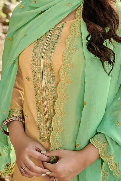 Ready to Wear Pale Yellow Embroidered Cotton Chanderi Indian Suit
