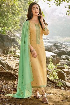 Pale Yellow Embroidered Cotton Chanderi Indian Suit