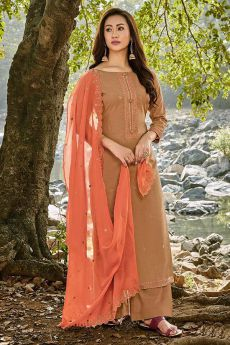 Brown Embroidered Cotton Chanderi Indian Suit
