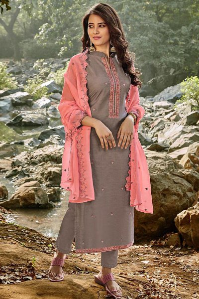Grey Embroidered Cotton Chanderi Indian Suit