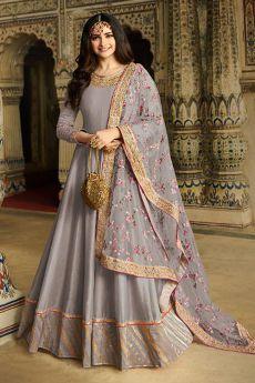 Light Mauve Embroidered Silk Anarkali Suit