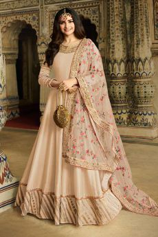 Beige Embroidered Silk Anarkali Suit