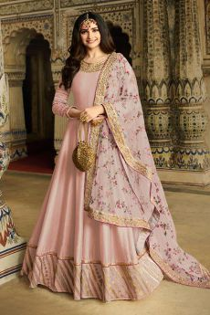 Baby Pink Embroidered Silk Anarkali Suit