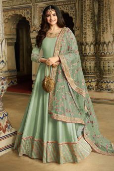 Mint Green Embroidered Silk Anarkali Suit
