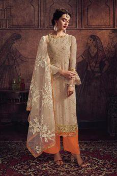 Beautiful Zari Embroidered Palazzo suit in Georgette