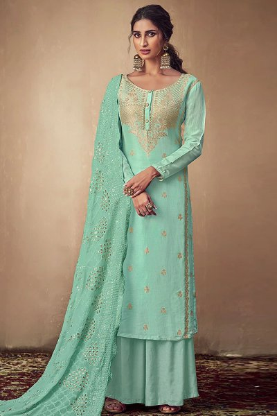 Mint Banarasi Silk Indian Palazzo Suit