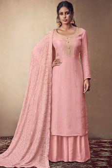 Pink Banarasi Silk Indian Palazzo Suit