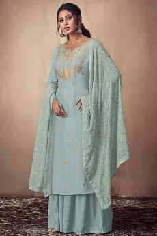 Dusty Blue Banarasi Silk Indian Palazzo Suit