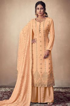 Peach Banarasi Silk Indian Palazzo Suit