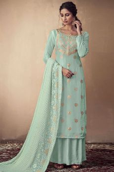 Light Blue Banarasi Silk Indian Palazzo Suit