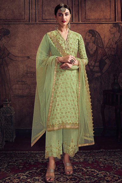 Pista Green Zari Embroidered Palazzo Suit