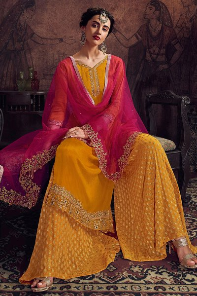 Mustard Beautiful Embroidered Palazzo Suit
