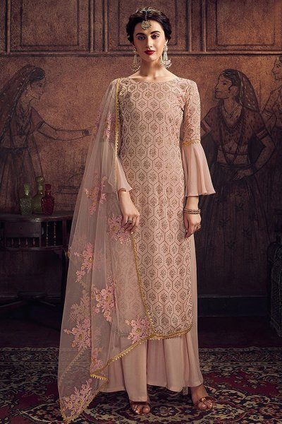 Dusky Pink Zari Embroidered Indian Suit