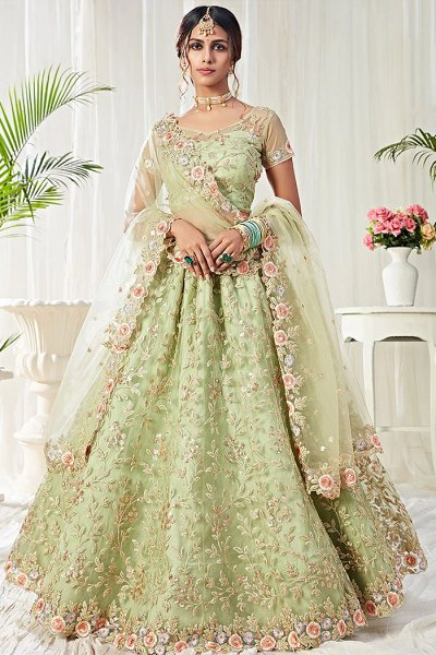 Beautiful Floral Zari Embroidered Indian Lehenga