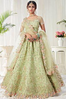 Beautiful Floral Zari Embroidered Indian Lehenga