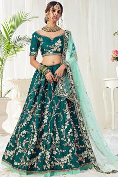 Zari Embroidered Designer Lehenga in Silk