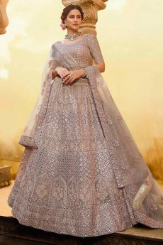 Pinkish Grey Zari Embroidered Designer Lehenga