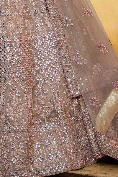 Pinkish Grey Zari Embroidered Designer Lehenga