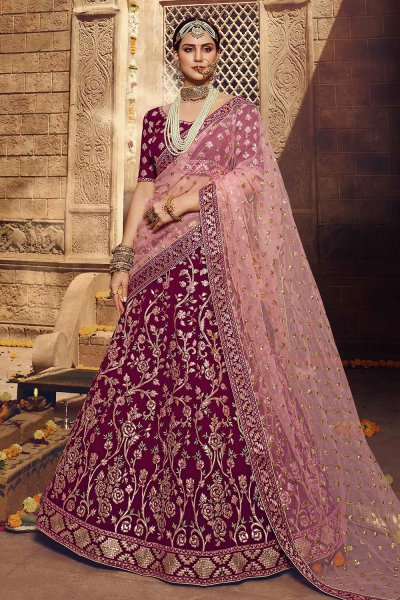 Wine Zari Embroidered Party Wear Lehenga