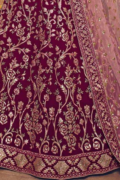 Wine Zari Embroidered Party Wear Lehenga