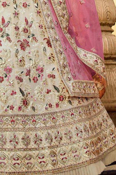 Off White Floral Embroidered Georgette Designer Lehenga