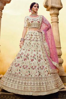 Off White Floral Embroidered Georgette Designer Lehenga
