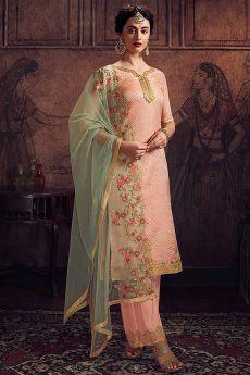 Peach Jacquard Indian Designer Suit