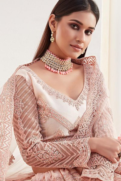 Peach Beautiful Embroidered Indian Lehenga