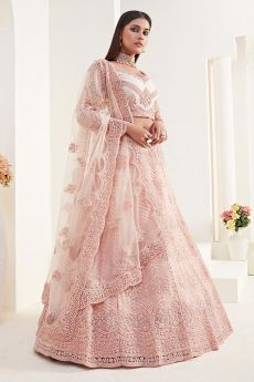 Peach Beautiful Embroidered Indian Lehenga