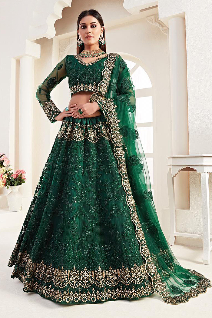 Bottle Green Beautiful Embroidered Indian Lehenga in Net lined with Silk