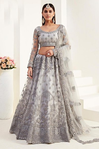 Designer Light Grey Embroidered Net Lehenga Choli