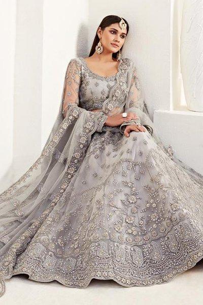Designer Light Grey Embroidered Net Lehenga Choli