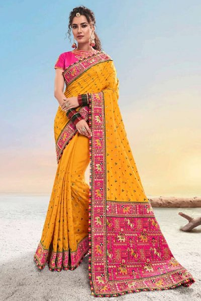 Mustard Kutch Hand Embroidered Satin Silk Saree