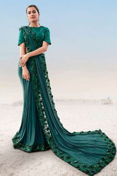 Dark Teal Embellished Party Wear Saree