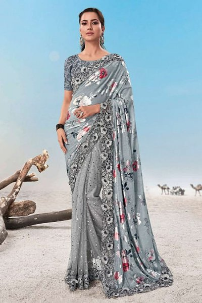 Light Grey Floral Printed Designer Saree