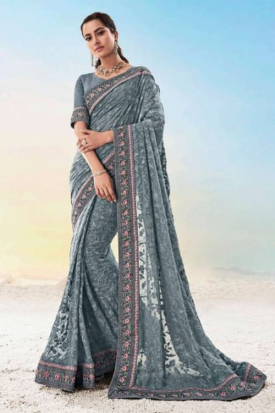 Grey Georgette Lucknowi Designer Saree