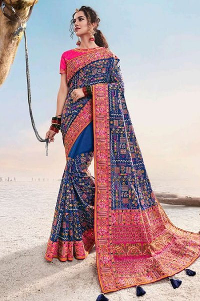 Royal Blue Kutch Hand Embroidered Satin Silk Saree