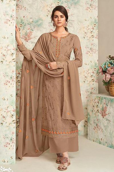 Almond Brown Embroidered Indian Suit