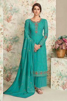 Turquoise Embroidered Indian Suit