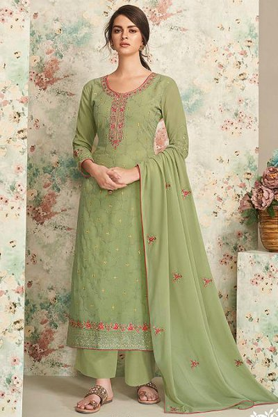 Green Embroidered Indian Suit
