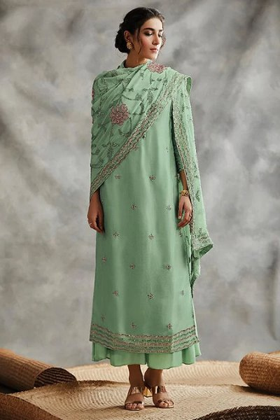 Mint Green Sequin Embroidered Indian Suit
